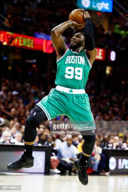 Jae Crowder of the Boston Celtics shoots against the Cleveland Cavaliers in the first quarter during Game Four of the 2017 NBA Eastern Conference...