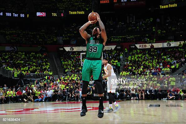 Jae Crowder of the Boston Celtics shoots the ball against the Atlanta Hawks in Game One of the Eastern Conference Quarterfinals during the 2016 NBA...