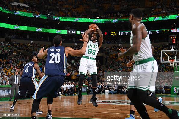 Jae Crowder of the Boston Celtics shoots the ball against the Memphis Grizzlies on March 9 2016 at the TD Garden in Boston Massachusetts NOTE TO USER...