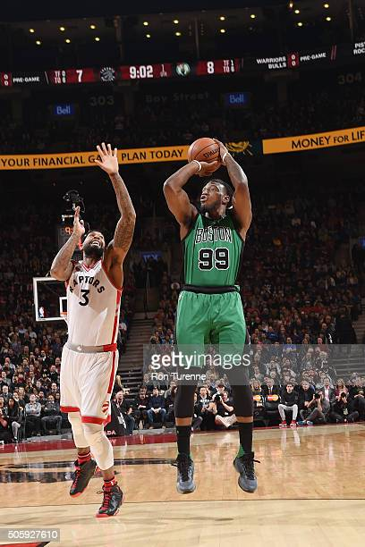 Jae Crowder of the Boston Celtics shoots the ball against the Toronto Raptors on January 20 2016 at the Air Canada Centre in Toronto Ontario Canada...