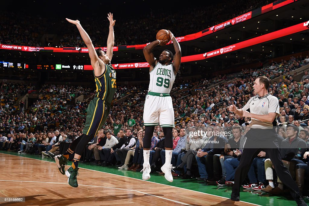 Jae Crowder of the Boston Celtics shoots the ball against the Utah Jazz on February 29 2016 at the TD Garden in Boston Massachusetts NOTE TO USER...