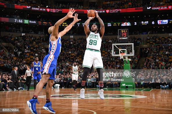 Jae Crowder of the Boston Celtics shoots the ball during a game against the Philadelphia 76ers on February 15 2017 at TD Garden in Boston...