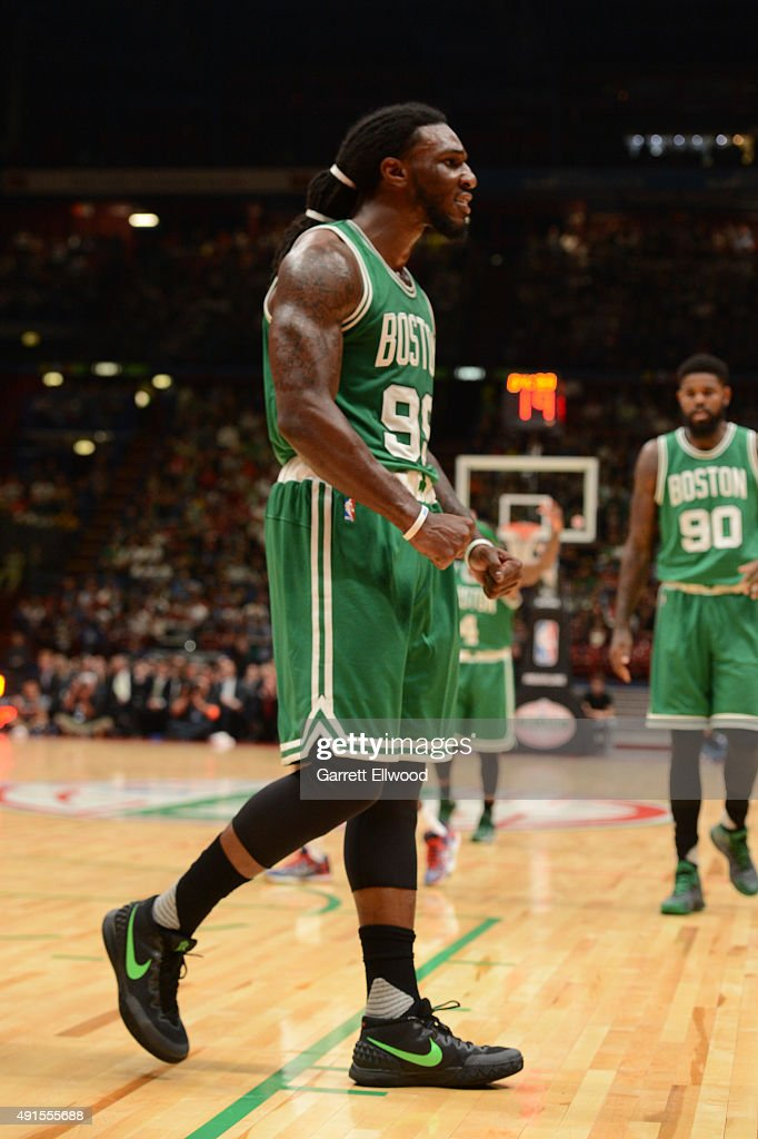 <a gi-track='captionPersonalityLinkClicked' href=/galleries/search?phrase=Jae+Crowder&family=editorial&specificpeople=7357507 ng-click='$event.stopPropagation()'>Jae Crowder</a> #99 of the Boston Celtics shows reaction against Emporio Armani Milano as part of the 2015 Global Games on October 6, 2015 at the Mediolanum Forum, Arena Sala Premium in Milan, Italy.