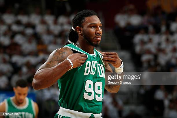 Jae Crowder of the Boston Celtics stands on the court during a game against the Cleveland Cavaliers during Game Two of the Eastern Conference...
