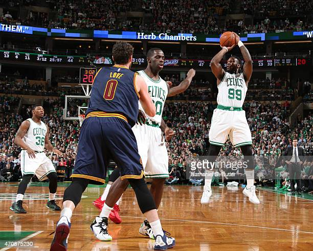 Jae Crowder of the Boston Celtics takes a shot against the Cleveland Cavaliers during Game Three of the Eastern Conference Quarterfinals of the 2015...
