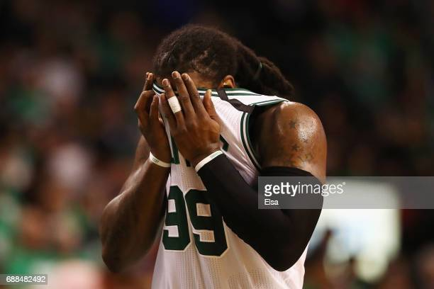 Jae Crowder of the Boston Celtics wipes his face in the second half against the Cleveland Cavaliers during Game Five of the 2017 NBA Eastern...
