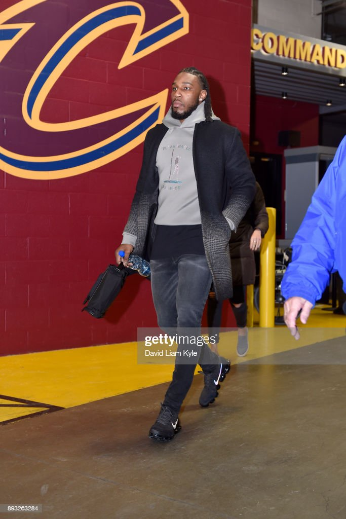 Jae Crowder #99 of the Cleveland Cavaliers arrives before the game against the Los Angeles Lakers on December 14, 2017 at Quicken Loans Arena in Cleveland, Ohio.