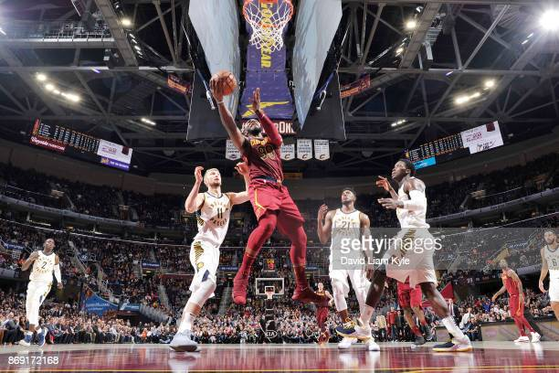 Jae Crowder of the Cleveland Cavaliers drives to the basket against the Indiana Pacers on November 1 2017 at Quicken Loans Arena in Cleveland Ohio...