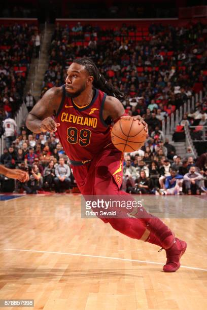 Jae Crowder of the Cleveland Cavaliers handles the ball against the Detroit Pistons on November 20 2017 at Little Caesars Arena in Detroit Michigan...