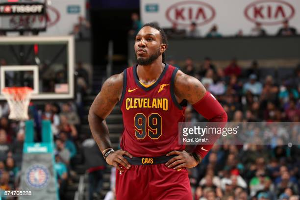 Jae Crowder of the Cleveland Cavaliers looks on during the game against the Charlotte Hornets on November 15 2017 at Spectrum Center in Charlotte...