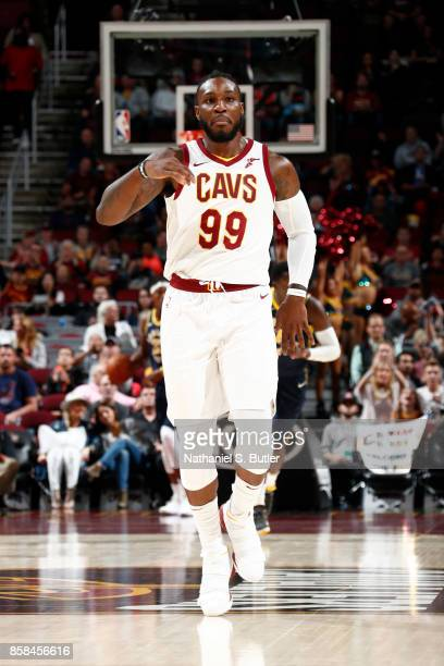 Jae Crowder of the Cleveland Cavaliers reacts during the preseason game against the Indiana Pacers on October 6 2017 at Quicken Loans Arena in...