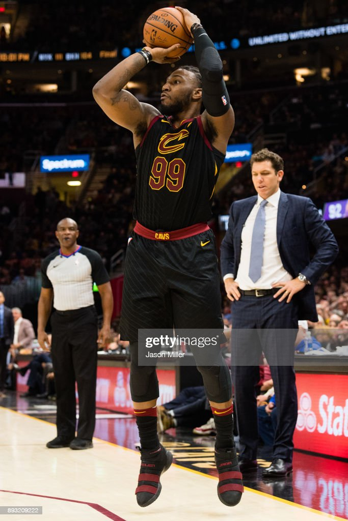 Jae Crowder #99 of the Cleveland Cavaliers shoots and three-point-shot during the second half against the Los Angeles Lakers at Quicken Loans Arena on December 14, 2017 in Cleveland, Ohio. The Cavaliers defeated the Lakers 121-112.