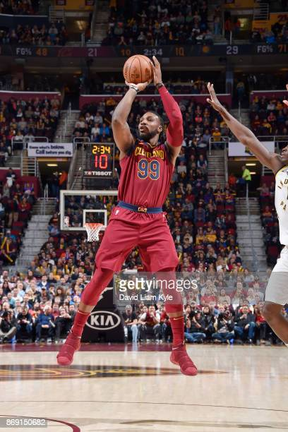 Jae Crowder of the Cleveland Cavaliers shoots the ball against the Indiana Pacers on November 1 2017 at Quicken Loans Arena in Cleveland Ohio NOTE TO...
