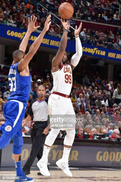 Jae Crowder of the Cleveland Cavaliers shoots the ball against the LA Clippers on November 17 2017 at Quicken Loans Arena in Cleveland Ohio NOTE TO...