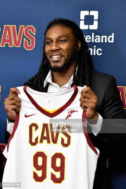 Jae Crowder of the Cleveland Cavaliers shows of his new jersey as he is introduced to the media at The Cleveland Clinic Courts on September 7 2016 in...