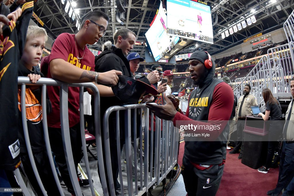 Jae Crowder #99 of the Cleveland Cavaliers signs autographs for fans before the game against the Los Angeles Lakers on December 14, 2017 at Quicken Loans Arena in Cleveland, Ohio.