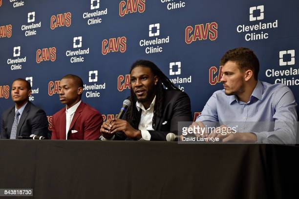 Jae Crowder of the Cleveland Cavaliers speaks to the media during a press conference at The Cleveland Clinic Courts on September 7 2016 in...