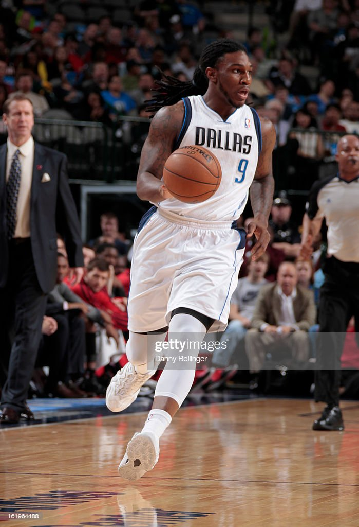 Jae Crowder #9 of the Dallas Mavericks brings the ball up court against the Portland Trail Blazers on February 6, 2013 at the American Airlines Center in Dallas, Texas.