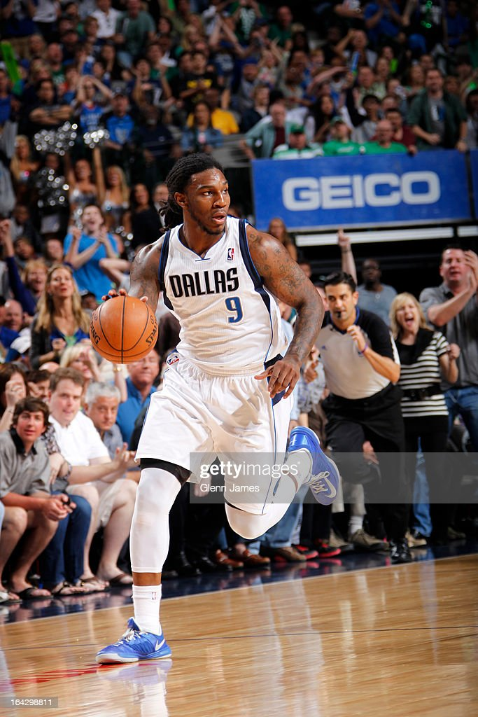 Jae Crowder #9 of the Dallas Mavericks brings the ball up court against the Oklahoma City Thunder on March 17, 2013 at the American Airlines Center in Dallas, Texas.