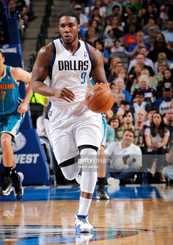 Jae Crowder #9 of the Dallas Mavericks brings the ball up court against the New Orleans Hornets on April 17, 2013 at the American Airlines Center in Dallas, Texas.