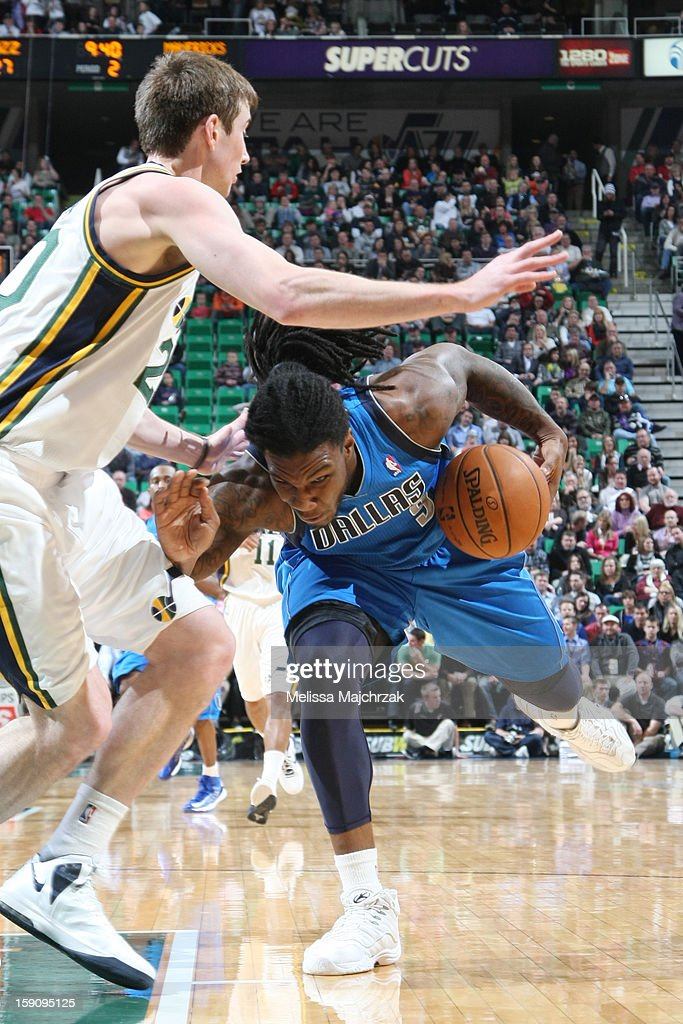Jae Crowder #9 of the Dallas Mavericks drives against Gordon Hayward #20 of the Utah Jazz at Energy Solutions Arena on January 7, 2013 in Salt Lake City, Utah.