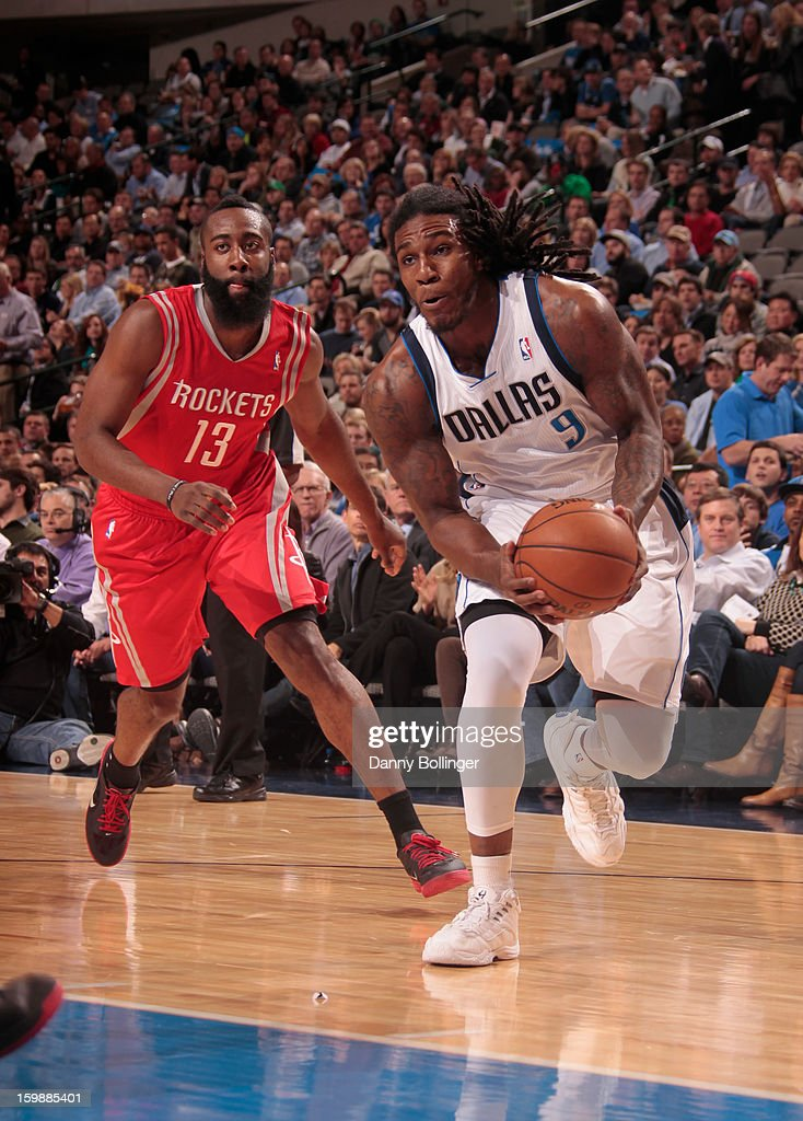 Jae Crowder #9 of the Dallas Mavericks drives to the basket against the Houston Rockets on January 16, 2013 at the American Airlines Center in Dallas, Texas.