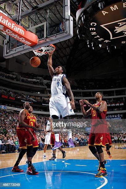 Jae Crowder of the Dallas Mavericks dunks against Tristan Thompson of the Cleveland Cavaliers on February 3 2014 at the American Airlines Center in...