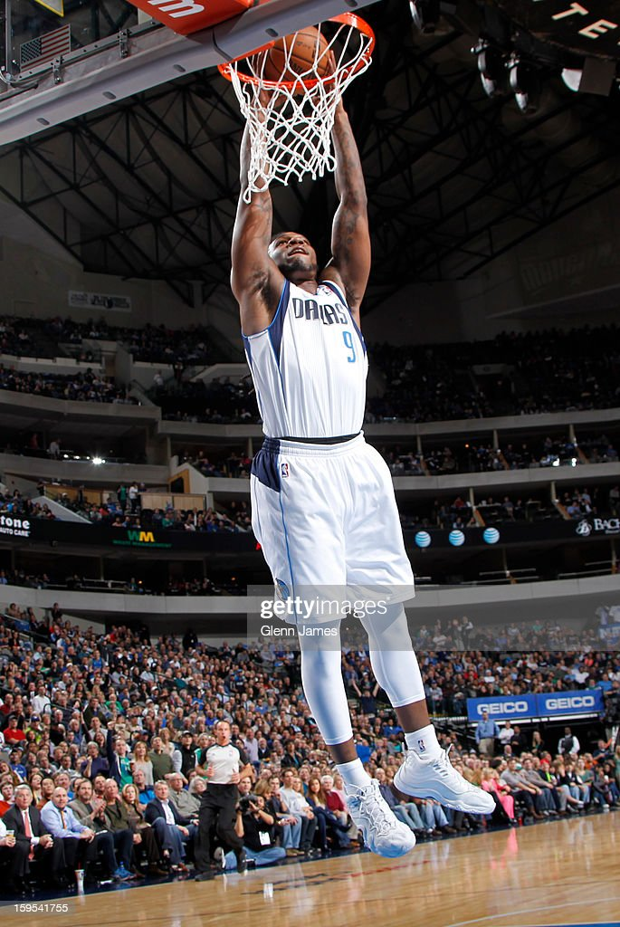 Jae Crowder #9 of the Dallas Mavericks dunks the ball against the Minnesota Timberwolves on January 14, 2013 at the American Airlines Center in Dallas, Texas.