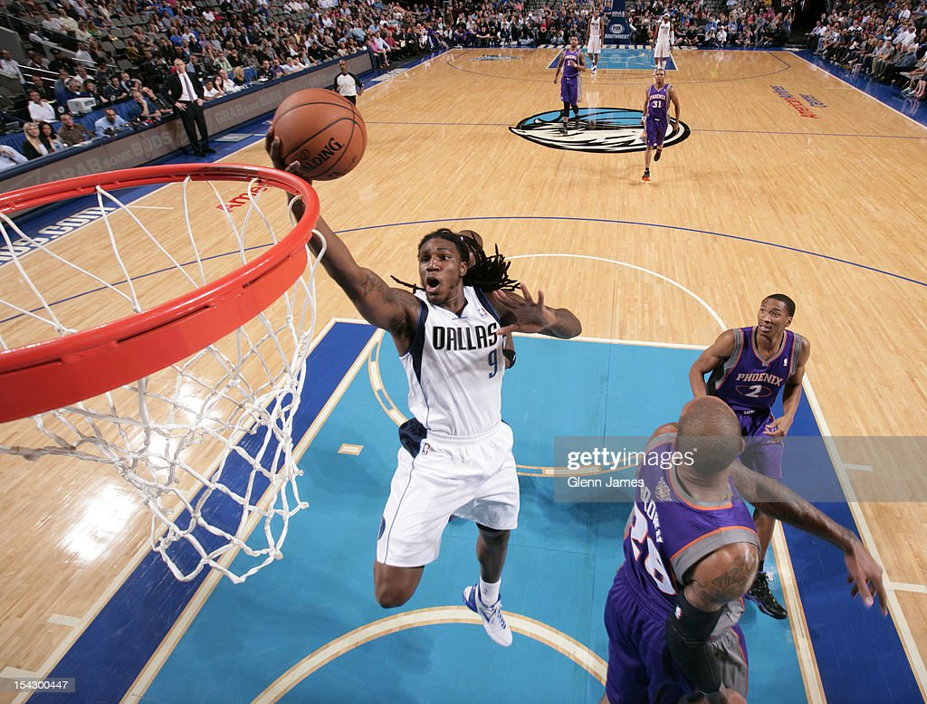 Jae Crowder #9 of the Dallas Mavericks gets into the lane for the layup against the Phoenix Suns on October 17, 2012 at the American Airlines Center in Dallas, Texas.