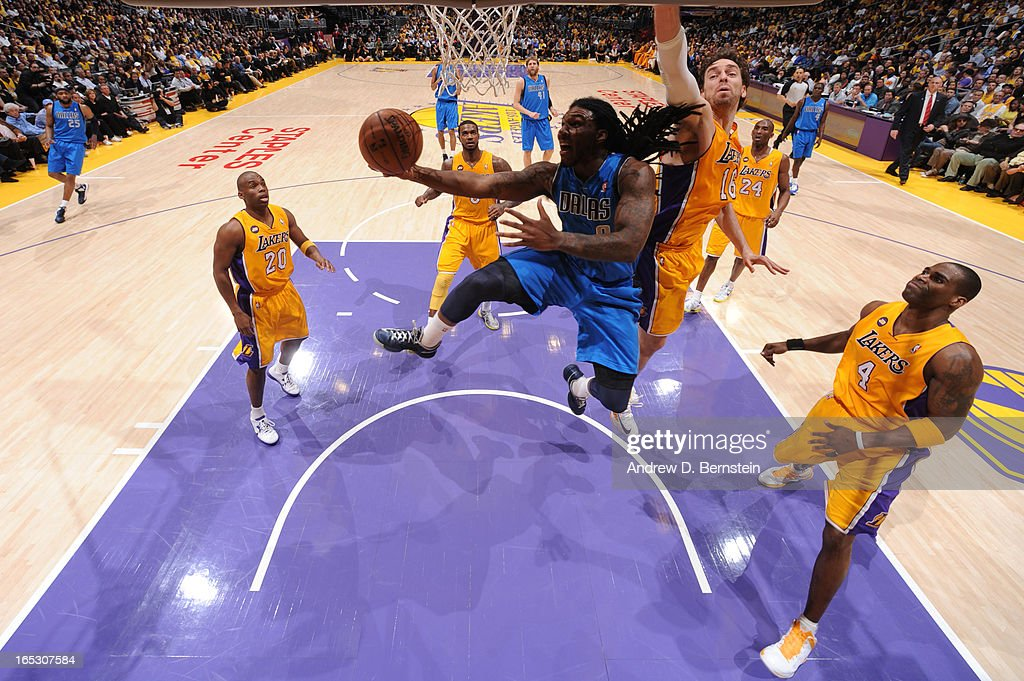 Jae Crowder #9 of the Dallas Mavericks goes up for a shot against the Los Angeles Lakers at Staples Center on April 2, 2013 in Los Angeles, California.