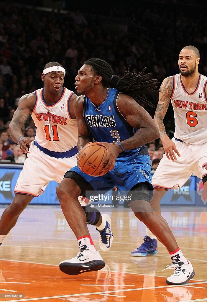 Jae Crowder #9 of the Dallas Mavericks in action against Ronnie Brewer #11 of the New York Knicks at Madison Square Garden on November 9, 2012 in New York City. The Knicks defeated the Mavericks 104-94.
