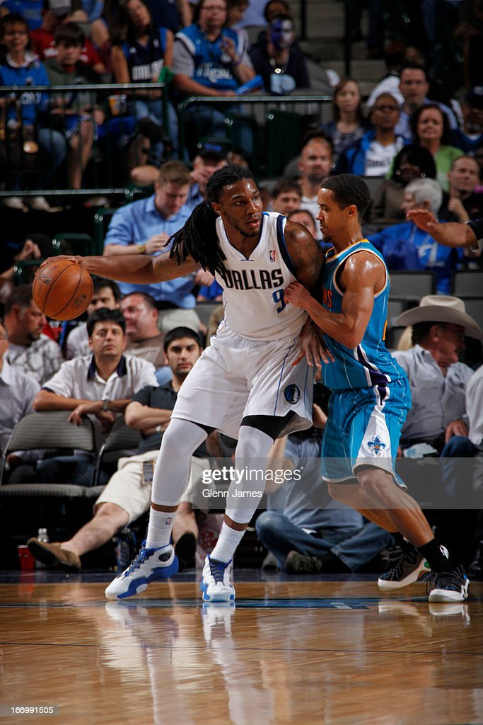 Jae Crowder #9 of the Dallas Mavericks looks to drive to the basket against the New Orleans Hornets on April 17, 2013 at the American Airlines Center in Dallas, Texas.
