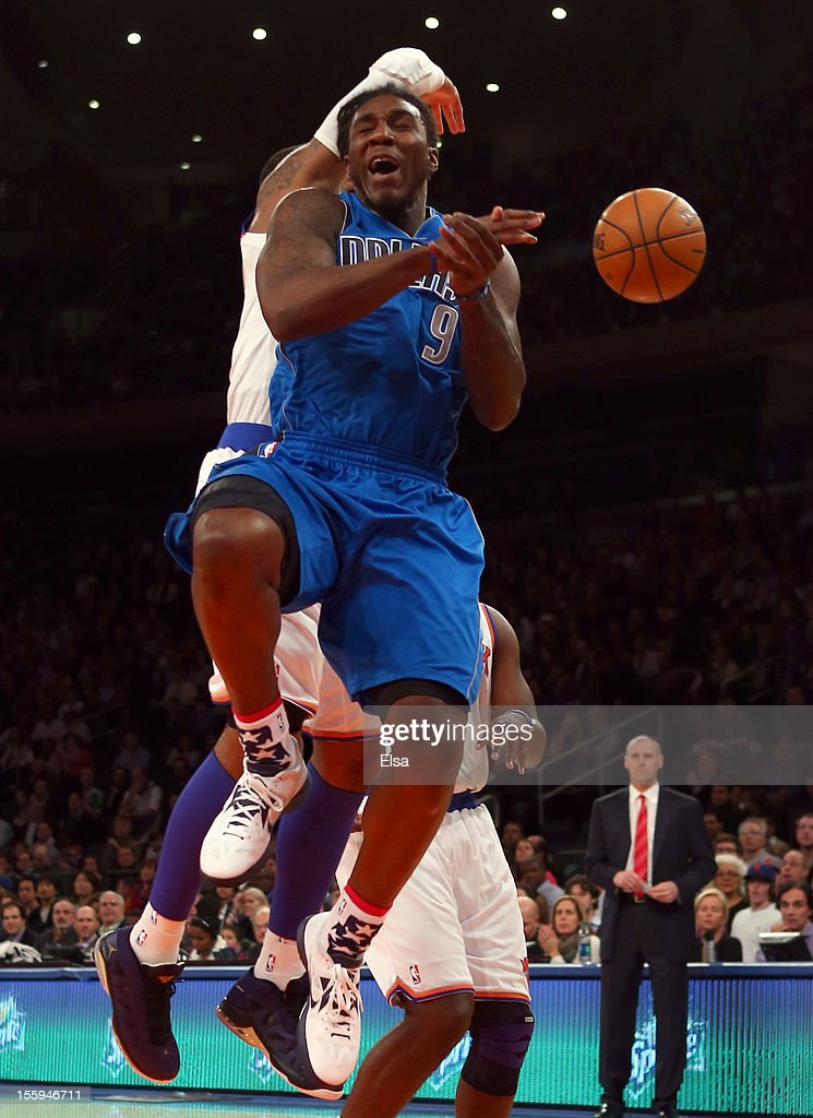 Jae Crowder #9 of the Dallas Mavericks loses the ball as Carmelo Anthony #7 of the New York Knicks knocks it away on November 9, 2012 at Madison Square Garden in New York City.