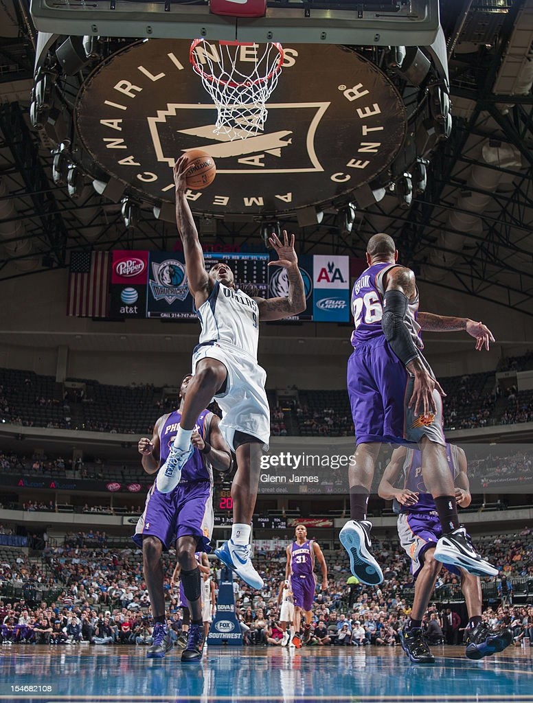 Jae Crowder #9 of the Dallas Mavericks makes a layup against Phoenix Suns on October 17, 2012 at the American Airlines Center in Dallas, Texas.