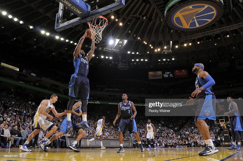 Jae Crowder #9 of the Dallas Mavericks rebounds against the Golden State Warriors on January 31, 2013 at Oracle Arena in Oakland, California.