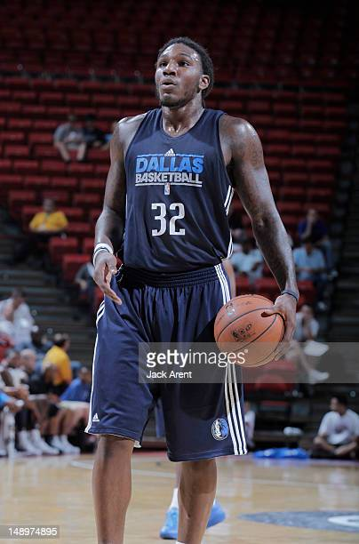 Jae Crowder of the Dallas Mavericks shoots a free throw against the New Orleans Hornets during NBA Summer League on July 20 2012 at Thomas Mack...