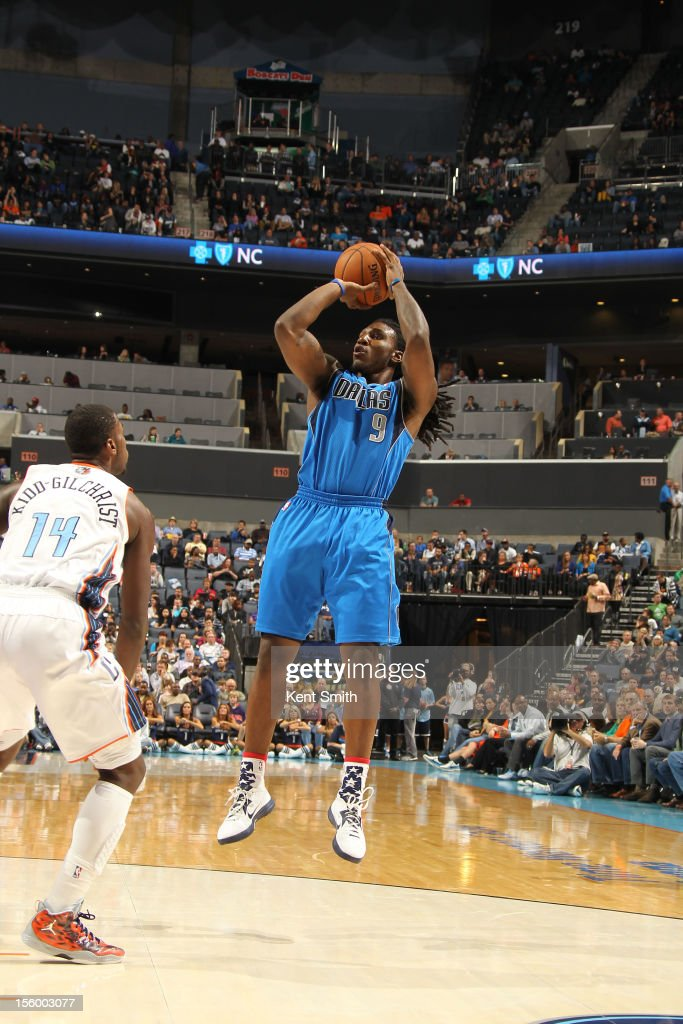 Jae Crowder #9 of the Dallas Mavericks shoots against Michael Kidd-Gilchrist #14 of the Charlotte Bobcats at the Time Warner Cable Arena on November 10, 2012 in Charlotte, North Carolina.
