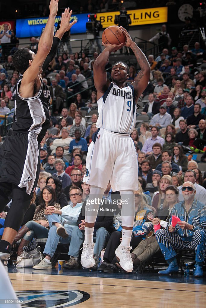 Jae Crowder #9 of the Dallas Mavericks takes a shot against the San Antonio Spurs on January 25, 2013 at the American Airlines Center in Dallas, Texas.