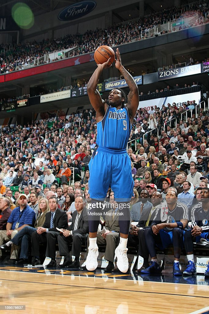<a gi-track='captionPersonalityLinkClicked' href=/galleries/search?phrase=Jae+Crowder&family=editorial&specificpeople=7357507 ng-click='$event.stopPropagation()'>Jae Crowder</a> #9 of the Dallas Mavericks takes a shot against the Utah Jazz on January 7, 2013 in Salt Lake City, Utah.