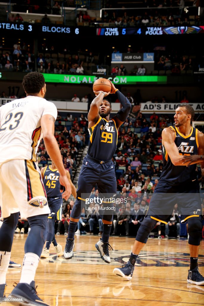 Jae Crowder #99 of the Utah Jazz shoots the ball during the game against the New Orleans Pelicans on March 11, 2018 at the Smoothie King Center in New Orleans, Louisiana.