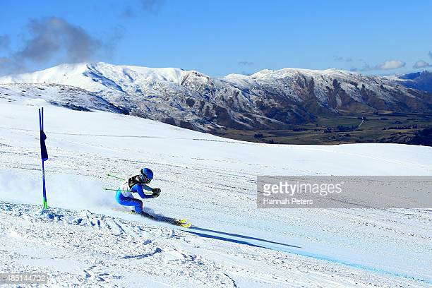 Jae Rim Yang of Korea competes in the Women Giant Slalom Visually Impaired B2 in the IPC Alpine Adaptive Giant Slalom Southern Hemisphere Cup during...