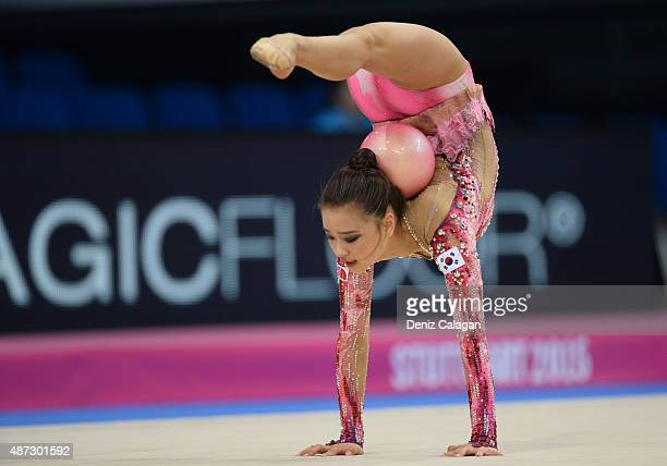 Jae Yeon Son of South Korea competes during the 34th Rhythmic Gymnastics World Championships on September 8 2015 in Stuttgart Germany