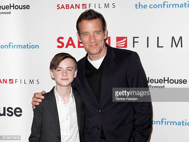 Jaeden Lieberher and Clive Owen attend the premiere of Saban Films' 'The Confirmation' on March 15 2016 in Los Angeles California