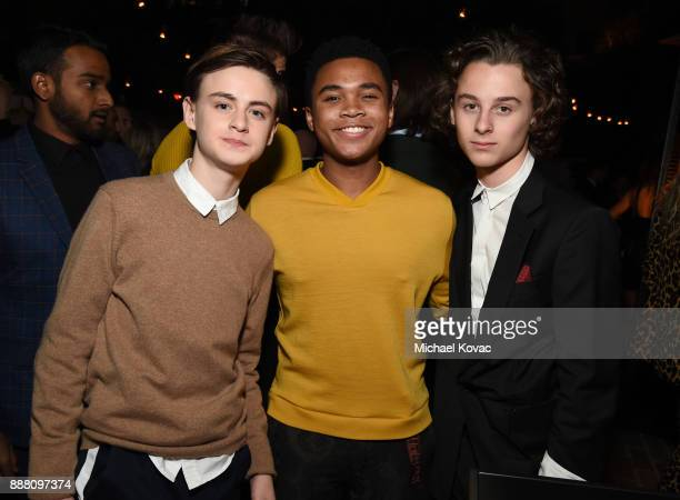 Jaeden Lieberher Chosen Jacobs and Wyatt Oleff attend the 2017 GQ Men of the Year Party at Chateau Marmont on December 7 2017 in Los Angeles...