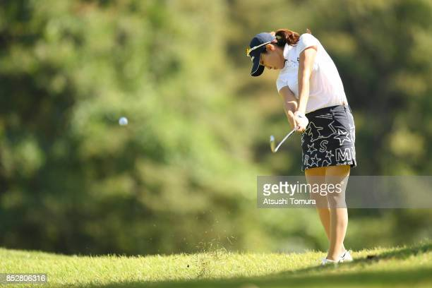 JaeEun Chung of South Korea hits her second shot on the 5th hole during the final round of the Miyagi TV Cup Dunlop Ladies Open 2017 at the Rifu Golf...