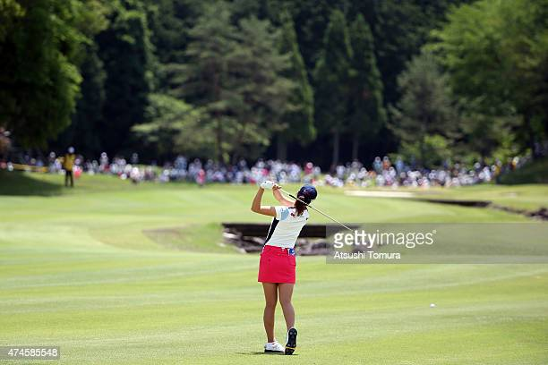 JaeEun Chung of South Korea hits her second shot on the 9th hole during the final round of the Chukyo Television Bridgestone Ladies Open at the...