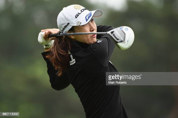 JaeEun Chung of South Korea hits her tee shot on the 10th hole during the first round of the HokennoMadoguchi Ladies at the Fukuoka Country Club...