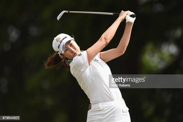 JaeEun Chung of South Korea hits her tee shot on the 13th hole during the third round of the World Ladies Championship Salonpas Cup at the Ibaraki...