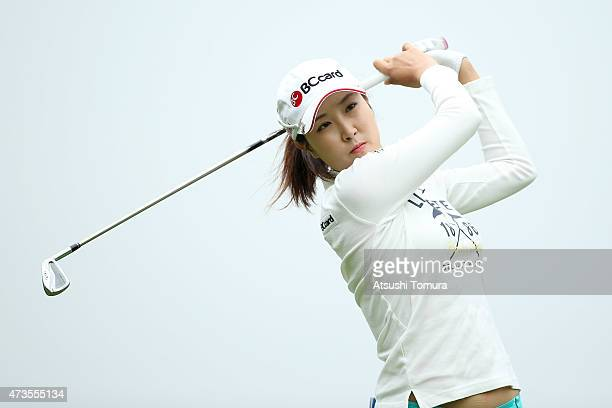 JaeEun Chung of South Korea hits her tee shot on the 2nd hole during the second round of the HokennoMadoguchi Ladies at the Fukuoka Country Club...