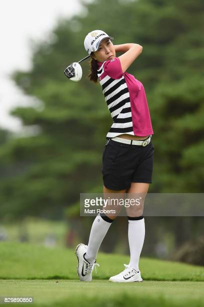 JaeEun Chung of South Korea hits her tee shot on the 4th hole during the first round of the NEC Karuizawa 72 Golf Tournament 2017 at the Karuizawa 72...